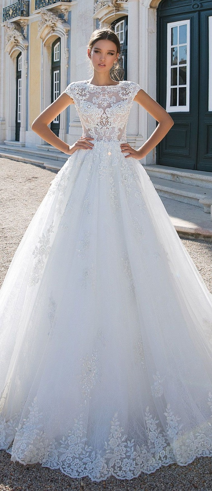 Short sleeves round neck heavy embellishment ball gown wedding dress : Milla Nova wedding dress #weddingdress #weddinggown #wedding #bridedress