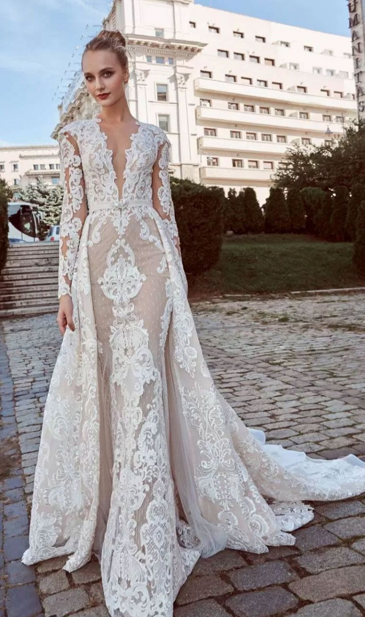 Long Sleeves Heavy embellishment Fit and Flare Wedding Dress #wedding #weddingdress #weddinggown #bridalgown