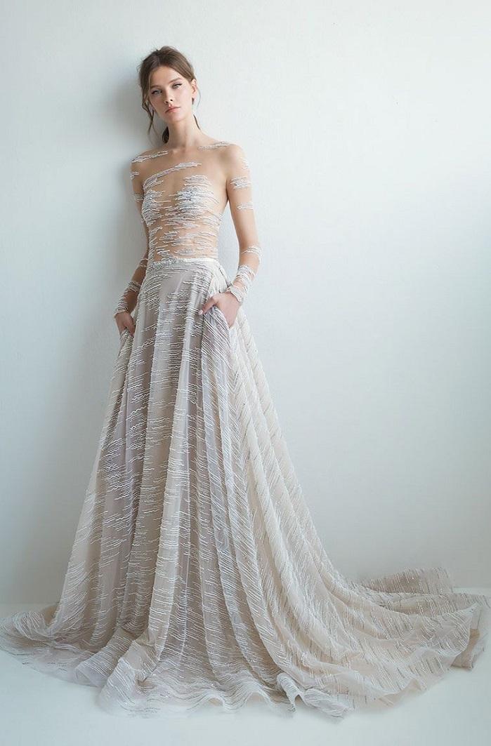 Long sleeves illusion bodice embellishment a line wedding dress : Lee Petra Grebenau Wedding Dresses 2018 - Pre 2018 bridal collection #wedding #weddingdress #weddingown #bridedress