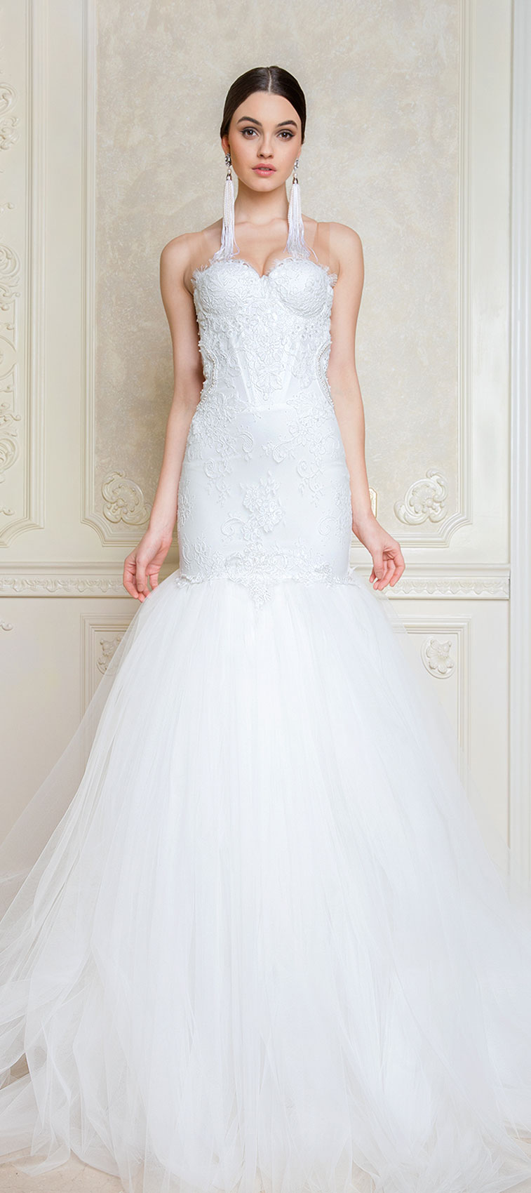 Sheer illusion tulle low back layered tulle trumpet wedding dress : Musat - Midsummer Dream Bridal Collection #weddingdress #weddinggown #weddingdresses #bridedress