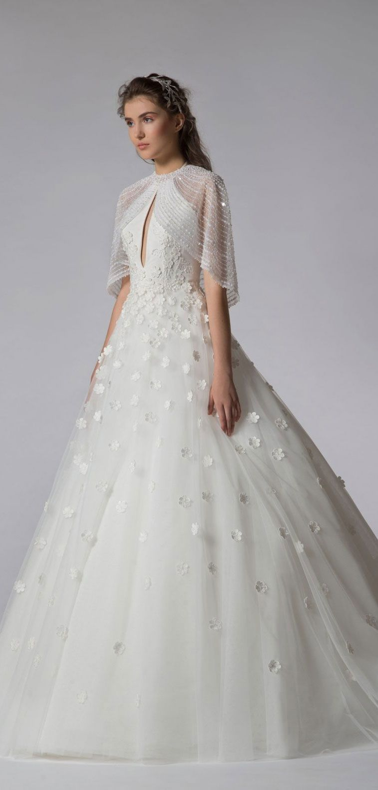 Wedding dresses with cape for elegant brides