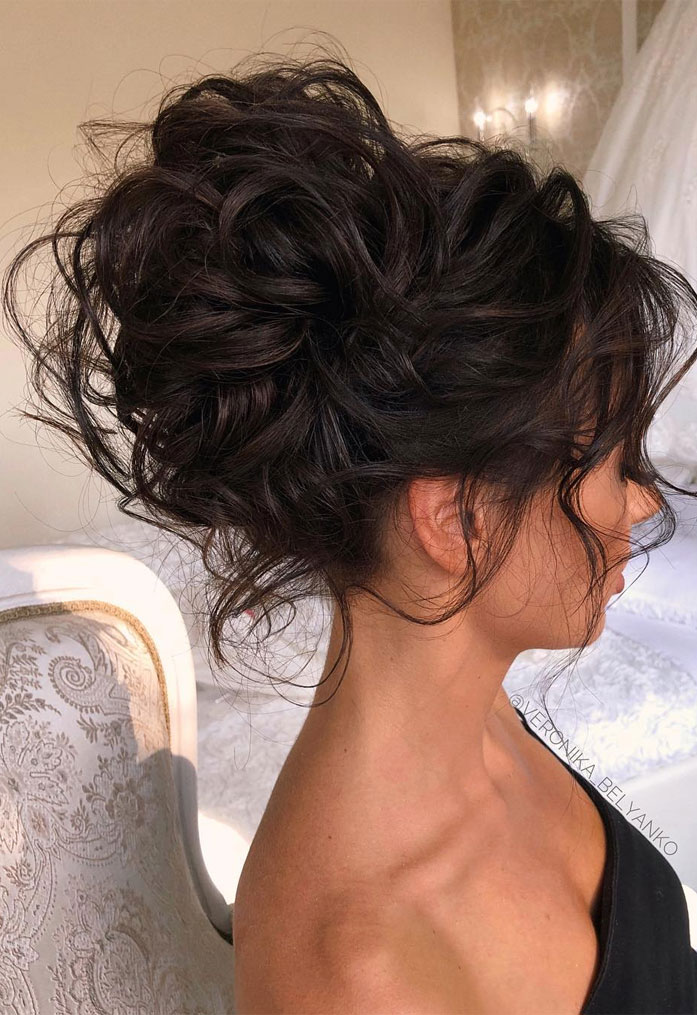 Messy Updo Hairstyles That Will leave You Speechless : Textured Updo Hairstyle for Dark Chocolate Hair Color