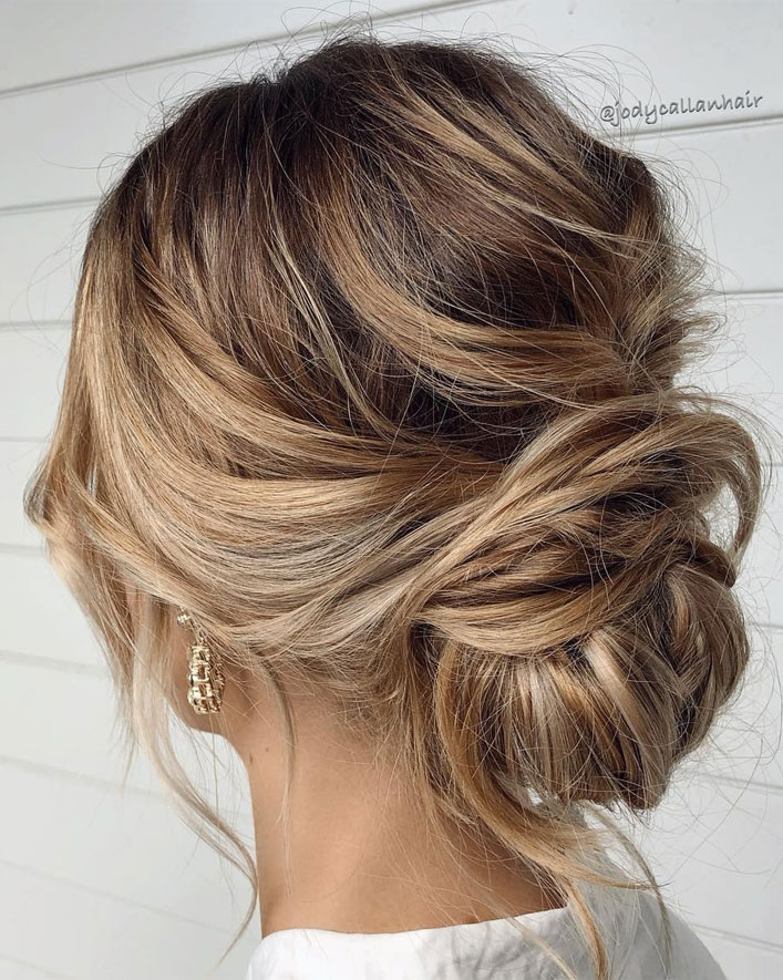44 Romantic Messy updo hairstyles for medium length to long hair - messy updo hairstyle for elegant look, hairstyle ideas , updo, wedding updo hairstyle ,textured updo