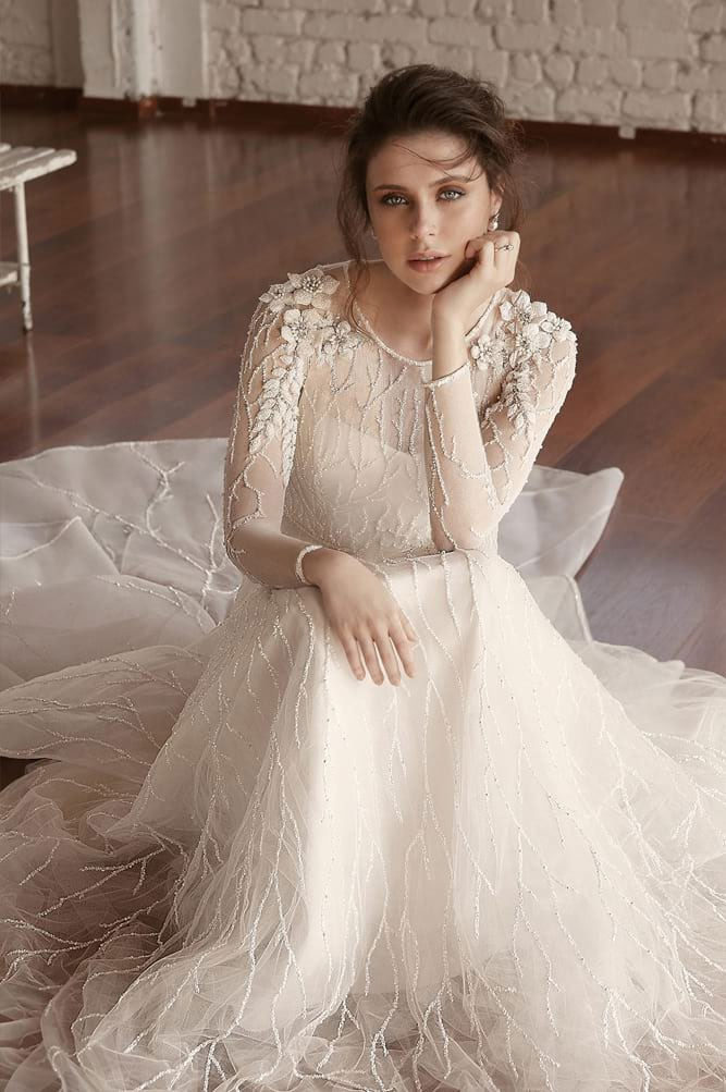 Long sleeve a line wedding gown - Chana Marelus Wedding Dresses – Fall 2018-2019 Bridal Collection #wedding #weddingdress #weddinggown #bridedress  wedding dress