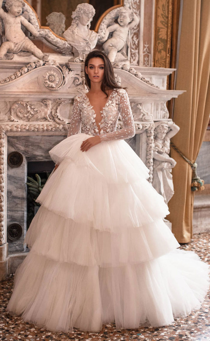 Stunning wedding dress - long sleeve deep v neck wedding layered skirt wedding dress  Milla Nova #wedding #bridedress wedding dresses
