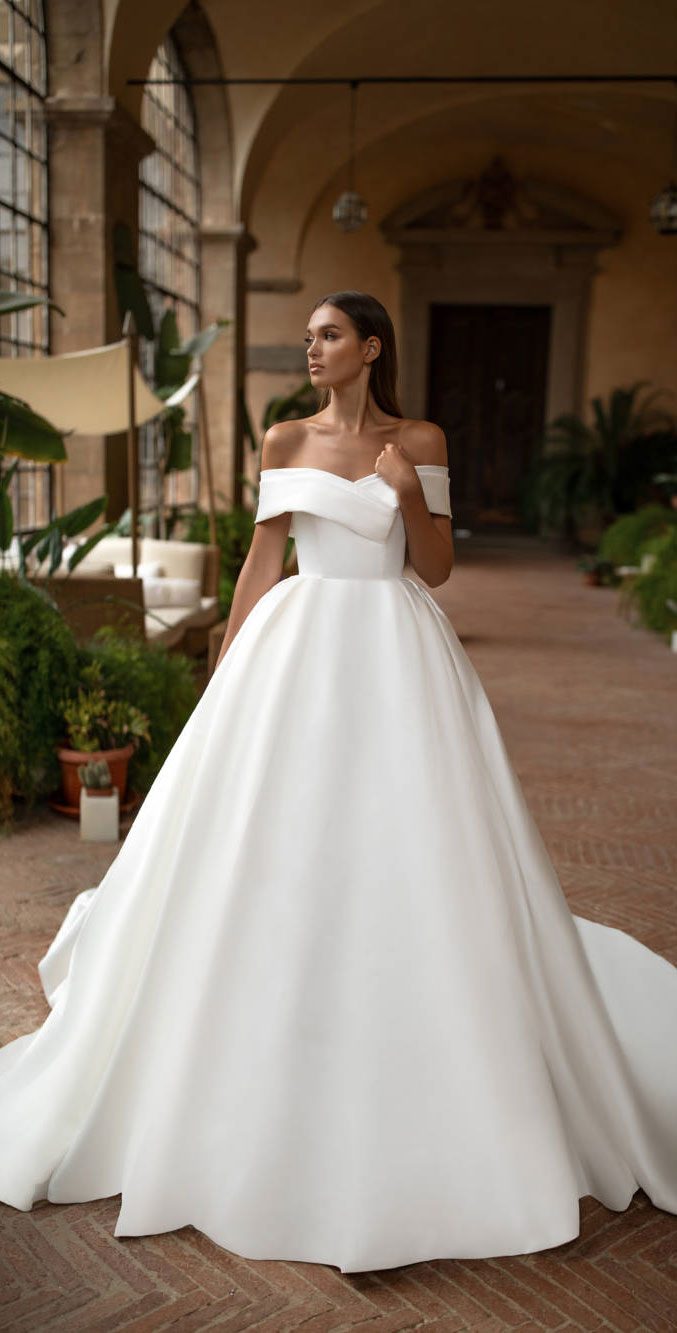 Elegant off the shoulder wedding dresses For Elegant Brides