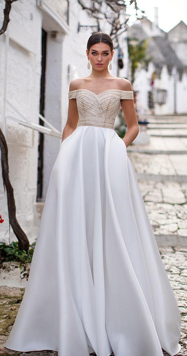 Elegant off the shoulder wedding dresses For Elegant Brides