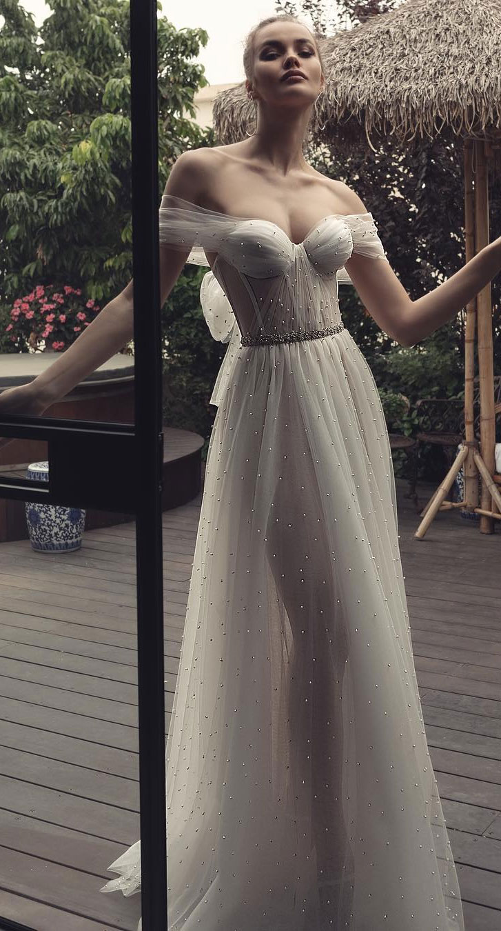 Elegant off the shoulder wedding dresses