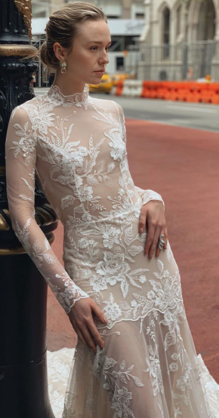 Wedding Dresses with romantic details – long sleeve high neck lace wedding dress