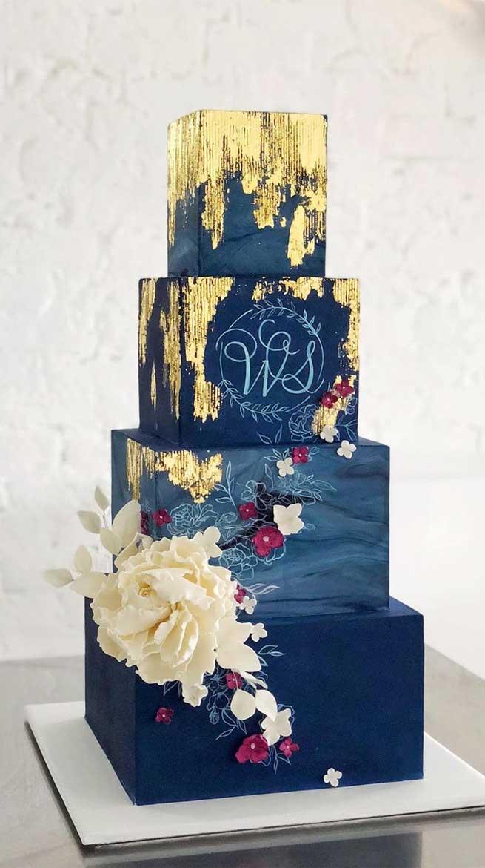 pretty wedding cake designs, painted wedding cake, unique wedding cakes, pretty wedding cake, simple wedding cake ideas, modern wedding cake designs, wedding cake designs 2019, wedding cake pictures gallery, wedding cake gallery, five tier navy blue wedding cakes, elegant square wedding cake