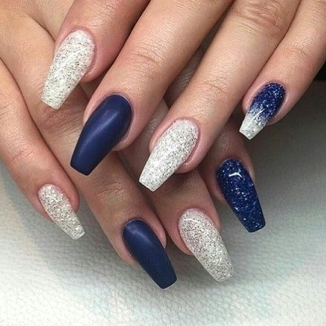 elegant navy blue nail colors and designs for a super