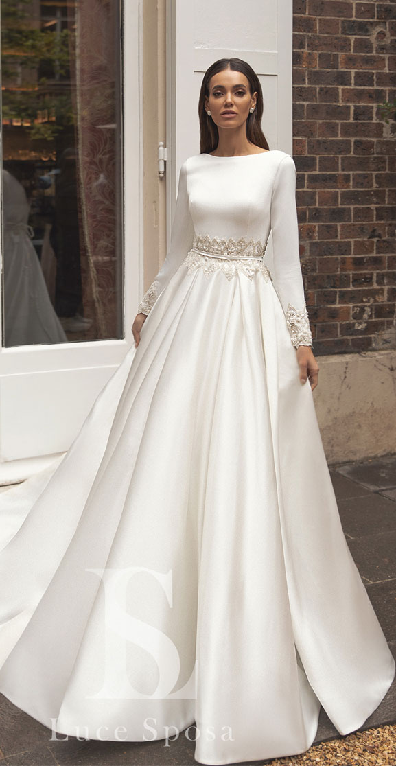 Show Stopper Wedding Dress,Long Sleeve Wedding Dresses 2020,