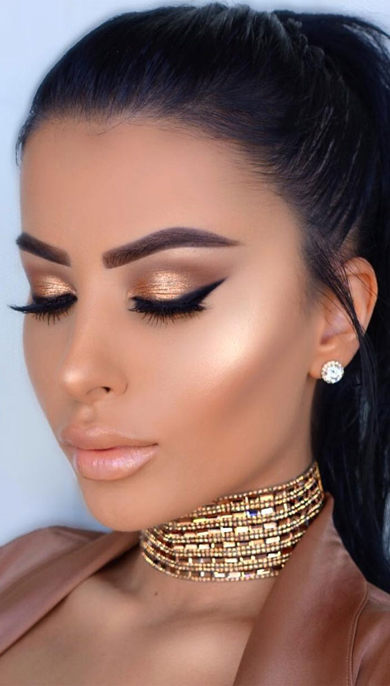 32 Glamorous Makeup Ideas For Any Occasion – Golden Bronze Galore