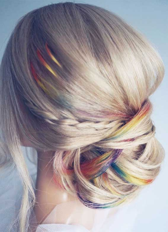 Updo Hairstyles that modern, creative, elegant and gorgeous – Rainbow updos
