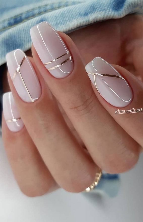 48 Most Beautiful Nail Designs To Inspire You Silver Line Neutral Nails