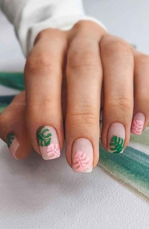 Pretty Neutral Nails Ideas For Every Occasion – Tropical matte neutral nails
