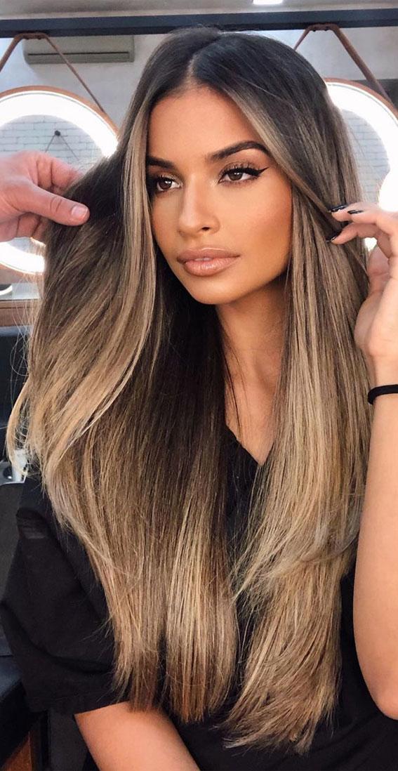 57 Cute Autumn Hair Colours And Hairstyles Dark Hair With Blonde