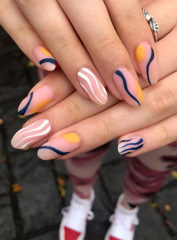 Most Beautiful Nail Designs You Will Love To wear In 2021 : Abstract matte