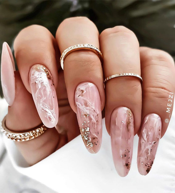 Most Beautiful Nail Designs You Will Love To Wear In 2021 Pink Marble Nails With Subtle Glitter