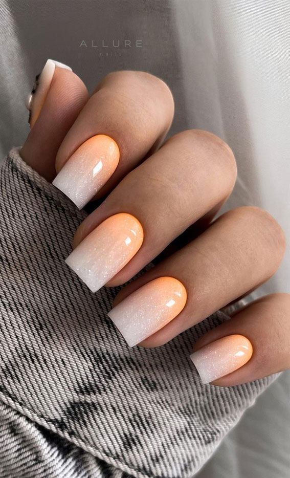 Summer Nail Designs You'll Probably Want To Wear : Shimmery ombre orange nails