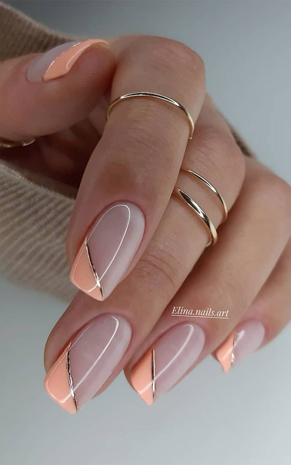 Summer Nail Designs You'll Probably Want To Wear : Asymmetric Peach French Tip Nails
