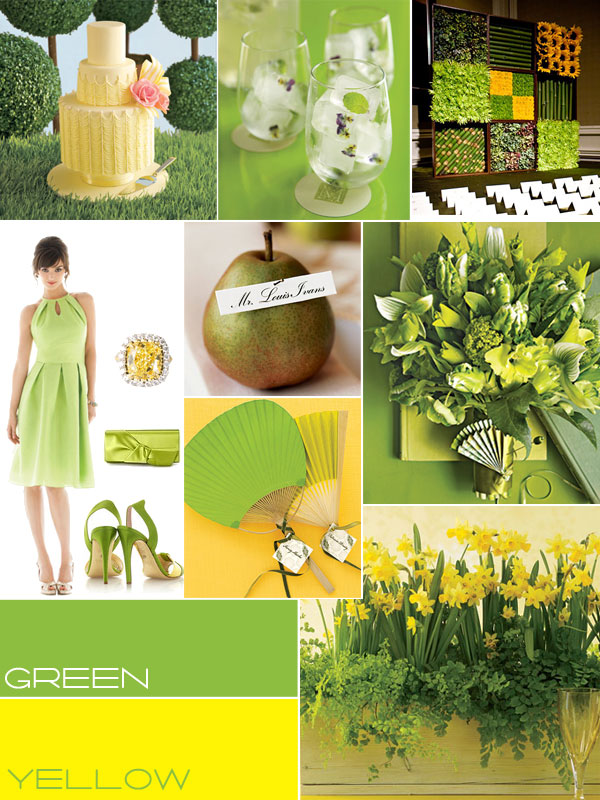 green yellow wedding theme, green yellow wedding colour palettes