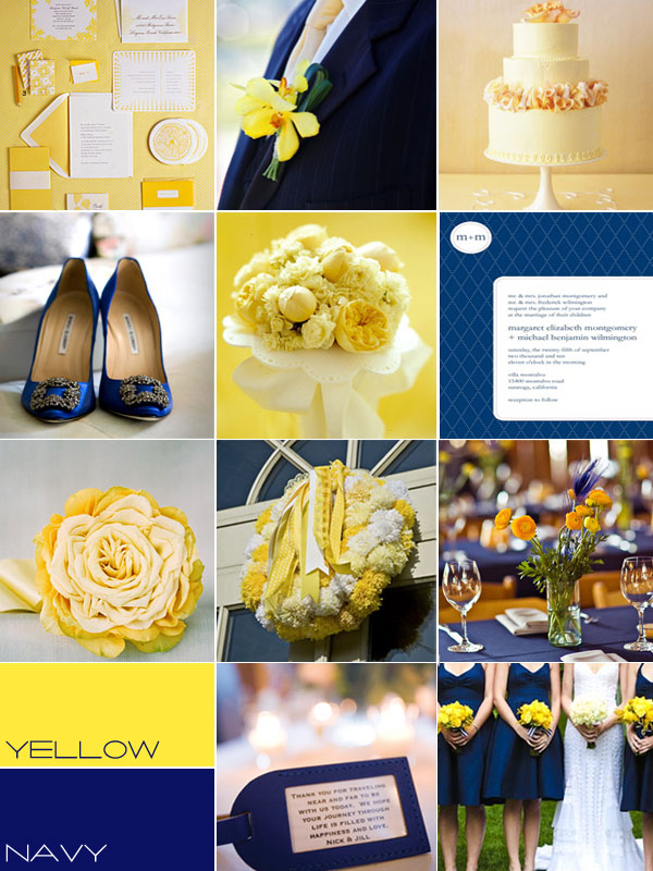 Navy blue yellow wedding colour palettes navy blue yellow for Navy blue wedding theme ideas