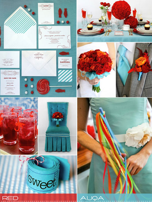 red aqua wedding ideas, red blue wedding colours