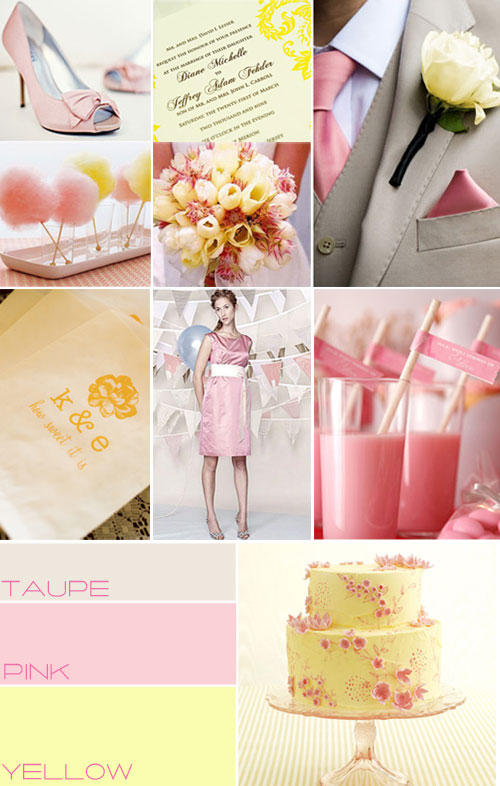 Pink taupe yellow wedding colour pink wedding theme for Pink and yellow wedding theme ideas