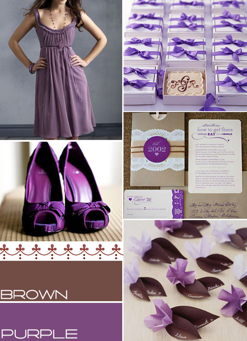 Lavender and Brown Color Palette http://www.itakeyou.co.uk/wedding-ideas/wedding-theme/brown-purple-colour-pallet.htm