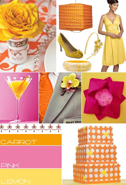 Orange yellow pink wedding colour wedding theme ideas for Pink and yellow wedding theme ideas