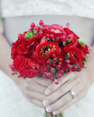 red wedding bouquet