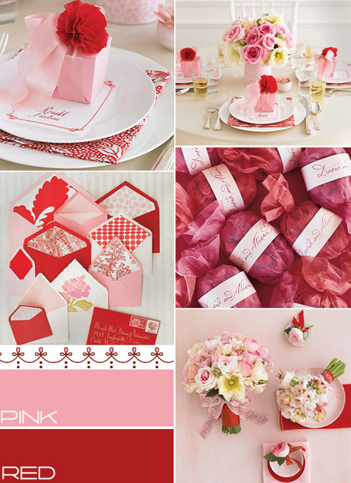 pink red weddings , pink red wedding ideas, wedding colours, pink red