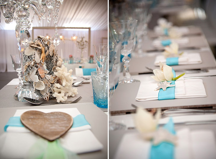 Beach wedding decor details table