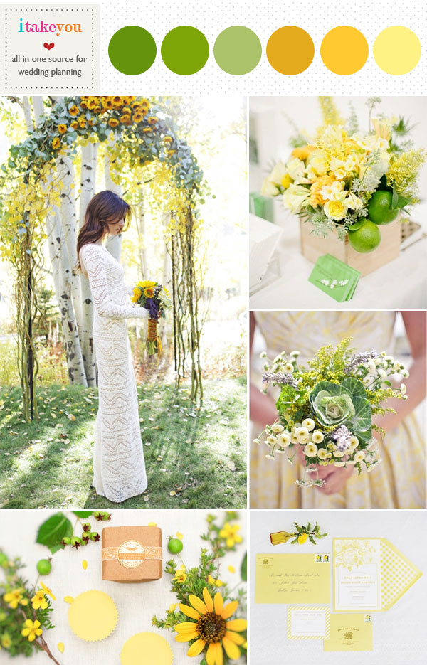 Lime Green Yellow Mustard Wedding Colour Board