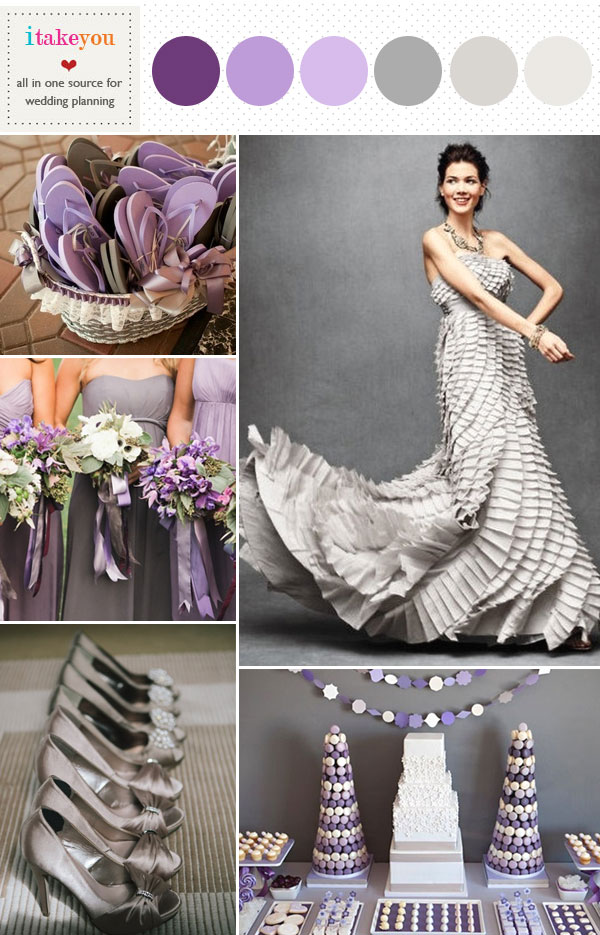 Grey Purple Wedding Colour Palette