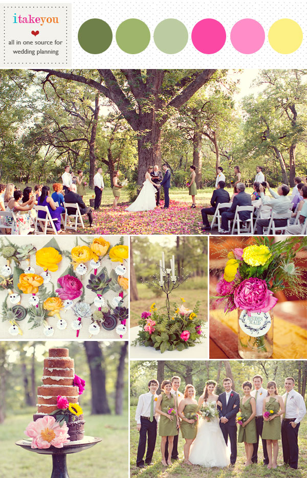 Rustic wedding ideas pink yellow green palette for Pink and yellow wedding theme ideas