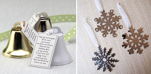 ornament place card holders, winter wedding favours