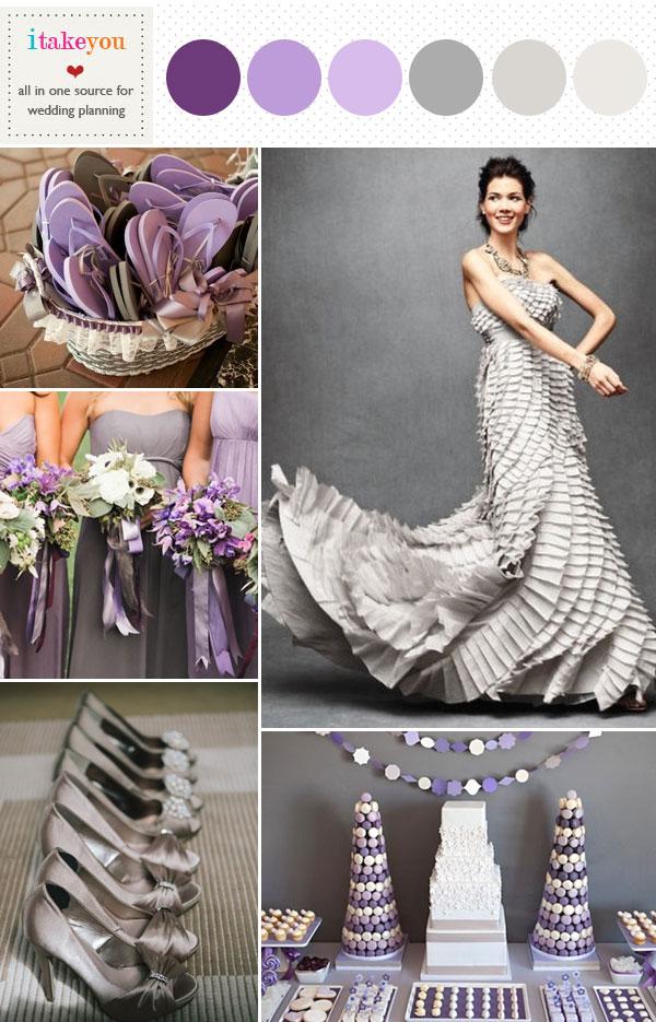 Grey Purple Wedding Colors Palette