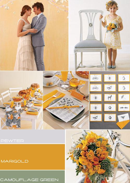 marigold green pewter grey wedding colours palette