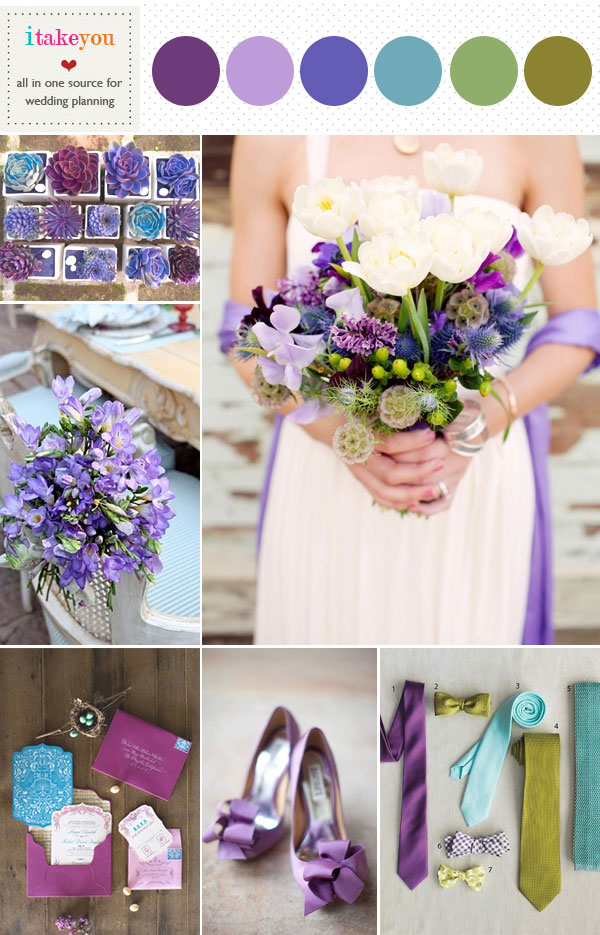 lilac purple indigo teal green wedding colors palette