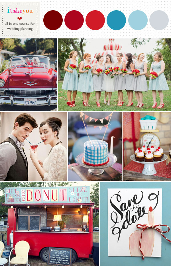 Blue red wedding colors, Retro wedding ideas