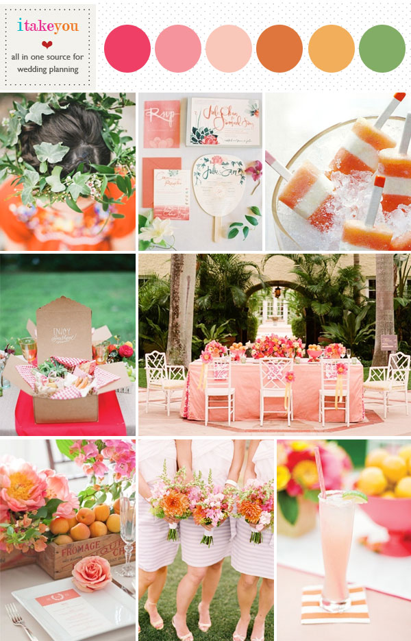 summer wedding colors ideas?pink and orange summer wedding colours palette,pink orange yellow wedding colors,pink orange wedding colors scheme,wedding color