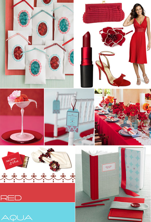 Aqua And Red Wedding Inspirationwedding Colour Palette