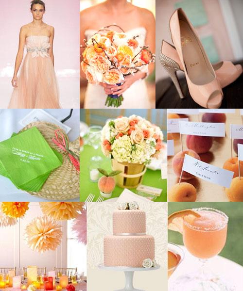 Peach Orange Green Tea Weddings Wedding Colours palette
