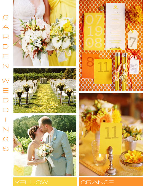 Orange and yellow wedding color scheme, garden wedding ideas