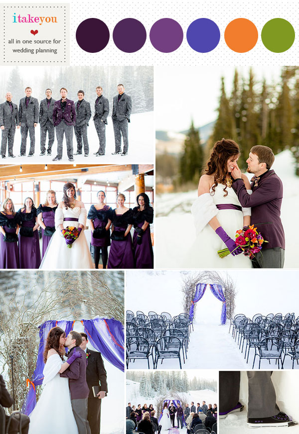 winter wedding colours palette,purple winter wedding,winter wedding ceremony in snow,purple orange winter wedding colours palette