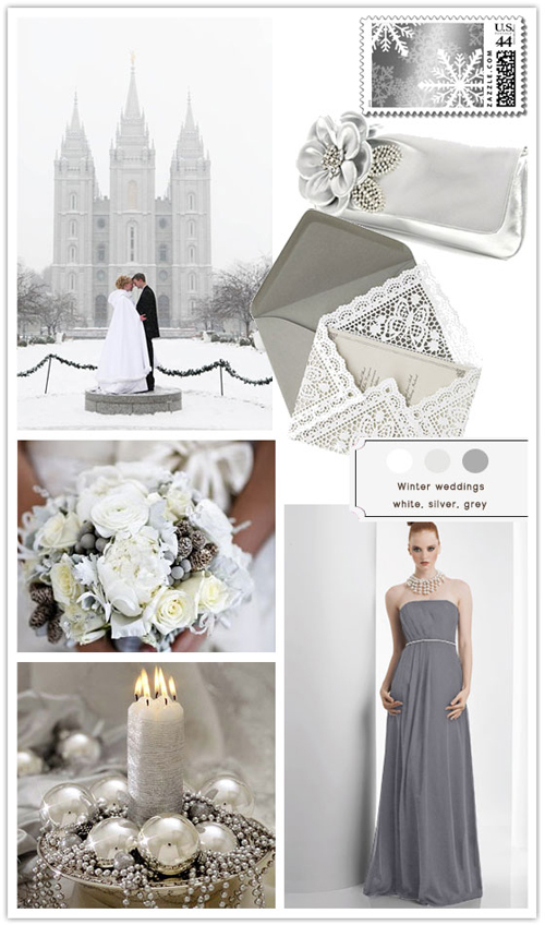 Winter wonderland wedding ideas using silver and white winter wedding colours,silver white and grey wedding colours palette,white grey winter wedding colors,itakeyou.co.uk