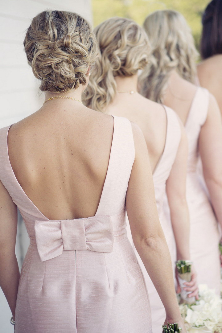 Open back with bow details bridesmaid dresss in pink | itakeyou.co.uk #wedding #rusticwedding #romantic