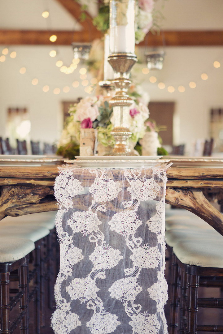 Lace table runner for a rustic chic wedding table decorations | itakeyou.co.uk #wedding #rusticwedding #romantic